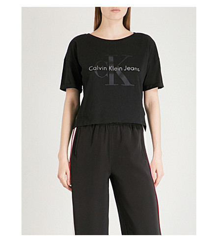 CALVIN KLEIN Cropped cotton T-shirt (Ck+black