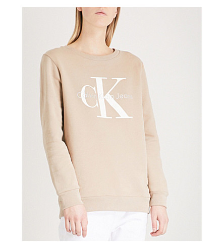 CALVIN KLEIN 真正的偶像棉衫运动衫 (银色 + 水貂