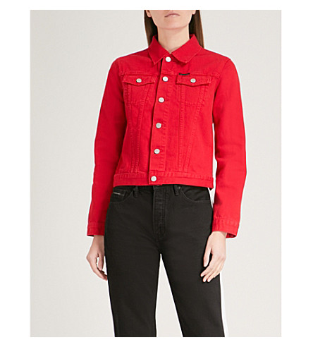 CALVIN KLEIN Denim trucker jacket (Tango+red