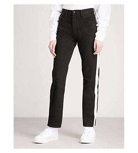 CALVIN KLEIN Contrast-trim straight high-rise jeans (Black/white+tape