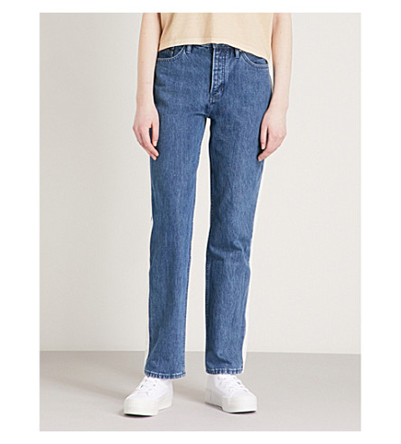 CALVIN KLEIN Contrast-trim straight high-rise jeans (Dark+blue/white