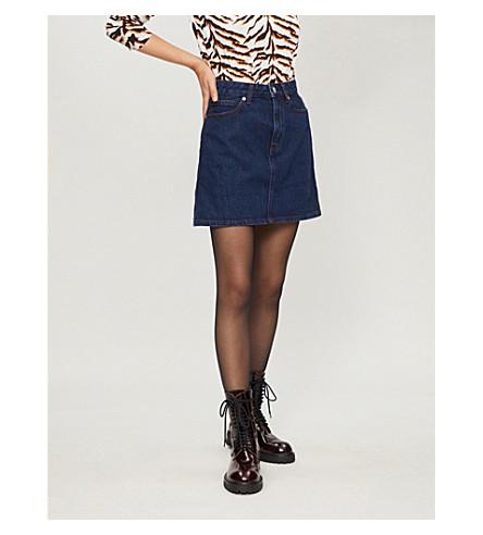 CALVIN KLEIN 高腰牛仔裙 (深色 + 石材 + 红色 + 拼接