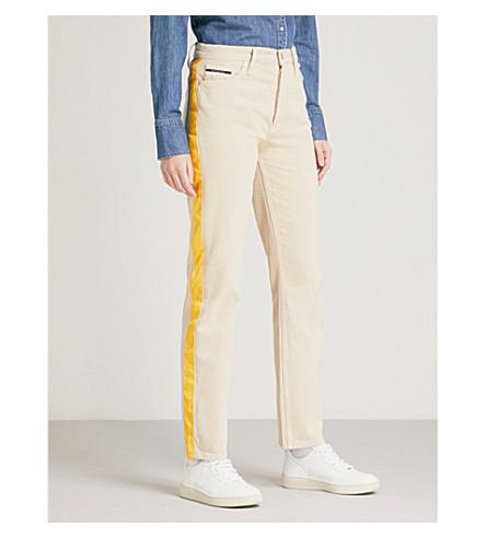 CALVIN KLEIN Side-stripe straight high-rise jeans (Khaki/spectre+yellow