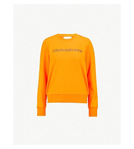 CALVIN KLEIN Institutional cotton-blend sweatshirt (Orange+tiger