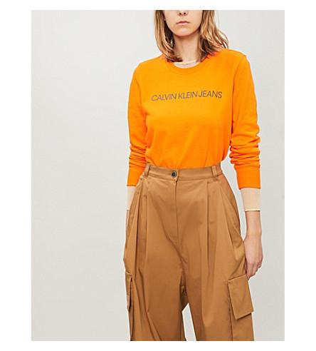 CALVIN KLEIN 机构棉混纺卫衣 (橙 + 虎