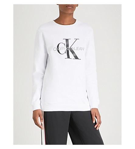 CALVIN KLEIN 徽标打印平纹针织棉卫衣 (亮 + 白