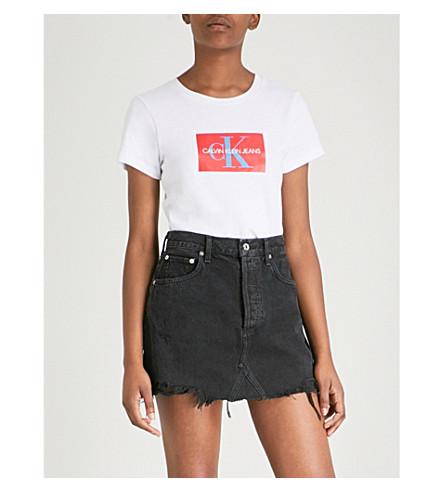 CALVIN KLEIN Logo-print cotton T-shirt (Bright+white+/+tomato