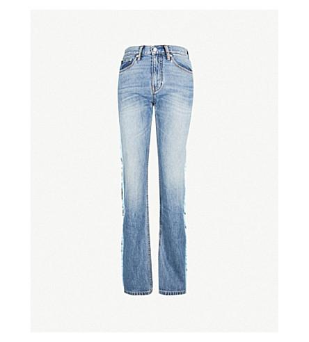 CALVIN KLEIN 侧条纹高腰直牛仔裤 (里昂 + 蓝色
