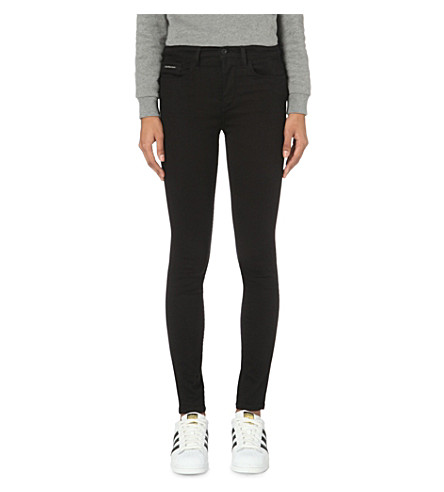 CALVIN KLEIN Skinny high-rise jeans (Pop+black