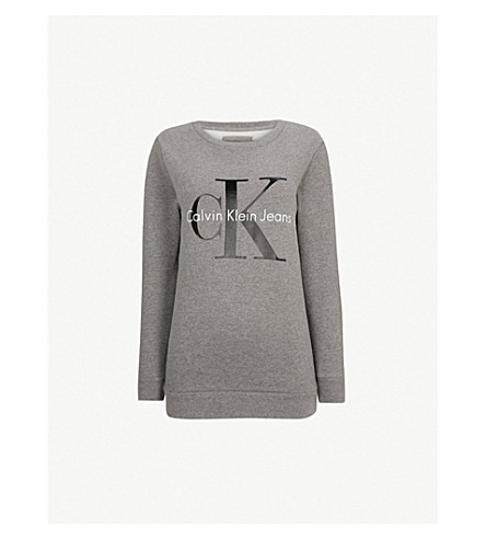 CALVIN KLEIN Halan cotton-jersey sweatshirt (Light+grey+heather