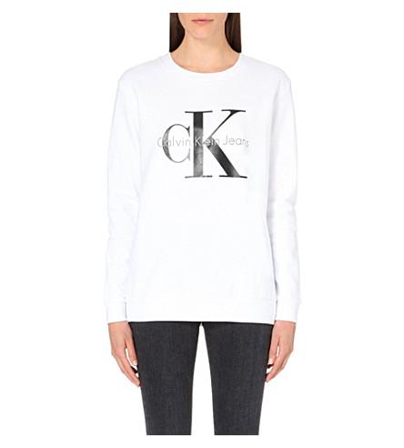 CALVIN KLEIN Logo-print cotton-jersey sweatshirt (Bright white
