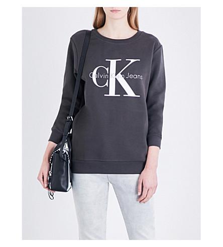 CALVIN KLEIN Logo-print cotton-jersey sweatshirt (Meteorite