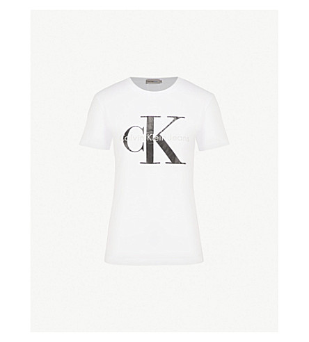 CALVIN KLEIN Logo-print cotton-jersey t-shirt (Bright+white