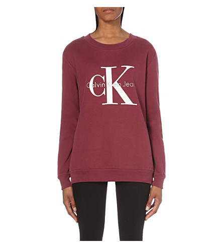 CALVIN KLEIN Halan cotton-jersey sweatshirt (Tawny port