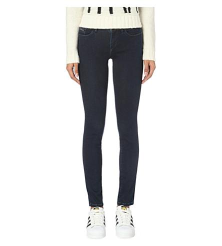 CALVIN KLEIN Slim-fit mid-rise jeans (Dark+eighties+blue
