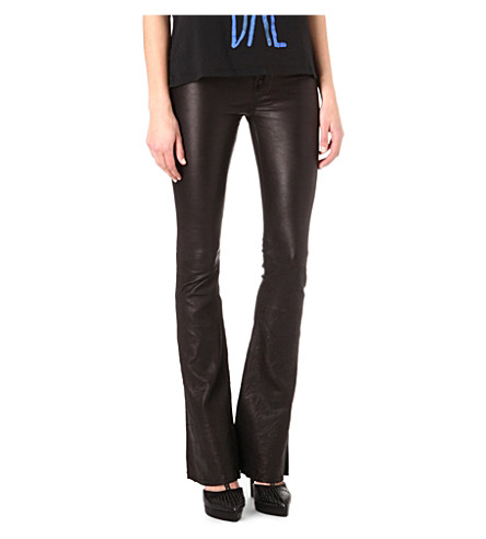 HUDSON JEANS Flared leather trousers (Black