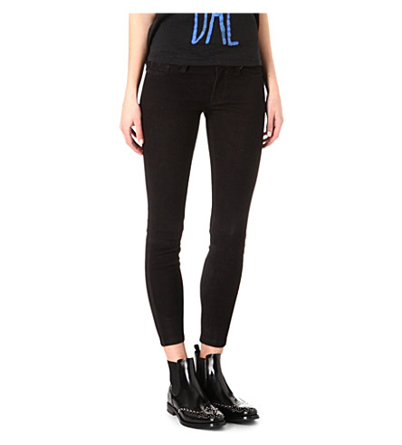 HUDSON JEANS Krista suede skinny trousers (Black