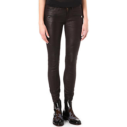 HUDSON JEANS Shelby moto leather trousers (Black