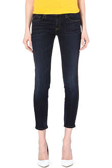 HUDSON JEANS Ava leather-panel skinny mid-rise jeans