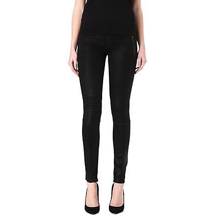 HUDSON JEANS Stark coated skinny mid-rise jeans (Black
