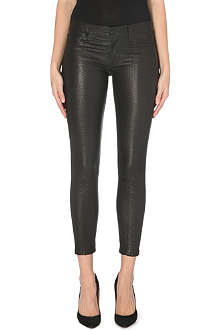 HUDSON JEANS Krista croc-effect leather skinny mid-rise jeans