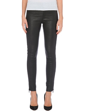 HUDSON JEANS Skinny high-waist leather trousers