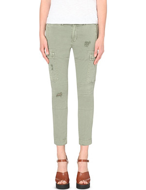 HUDSON JEANS Distressed stretch-cotton cargo trousers