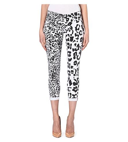 HUDSON JEANS Harkin cheetah-print skinny mid-rise jeans (Black/white cheetah