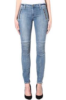 HUDSON JEANS Stark moto skinny mid-rise jeans