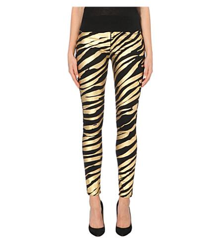 HUDSON JEANS Nico metallic zebra-print super-skinny mid-rise jeans (Natural selection