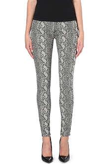 HUDSON JEANS Nico snake-print super-skinny mid-rise jeans