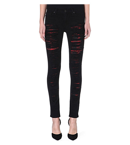 HUDSON JEANS Melissa skinny mid-rise distressed jeans (Nemesis