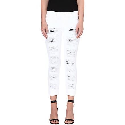 HUDSON JEANS Melissa distressed skinny mid-rise jeans (White