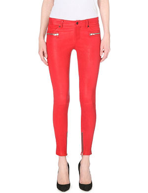 RTA Skinny zip-detail leather trousers