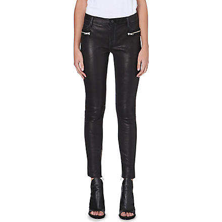 RTA Zip-pocket skinny leather trousers (Black
