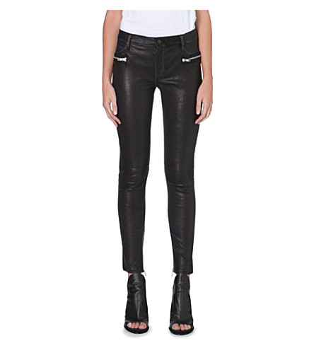 RTA Zip-pocket skinny leather trousers (Black