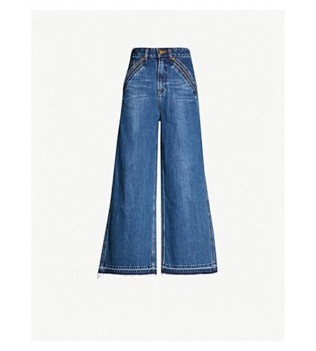 SELF PORTRAIT Self Portrait x Lee cropped high-rise flared jeans (Blue