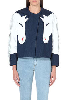 ASHLEY WILLIAMS Horse leather-detail denim jacket
