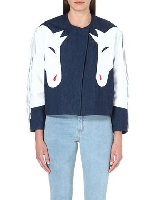 ASHLEY WILLIAMS Horse leather-detail denim jacket