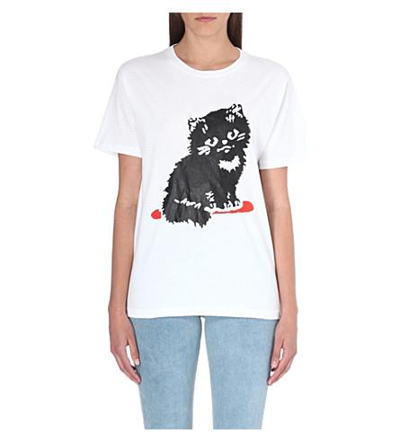 ASHLEY WILLIAMS Cat cotton-jersey t-shirt (White