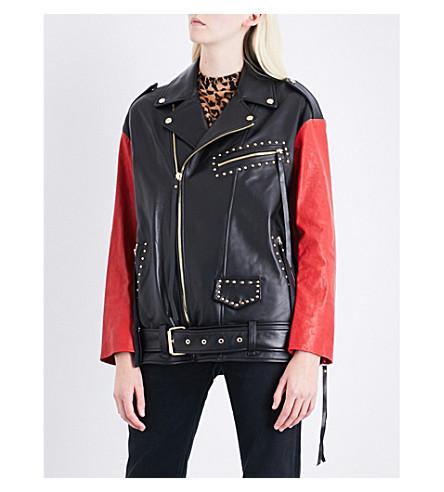 SJYP Studded contrast-sleeve leather jacket (Black+0090