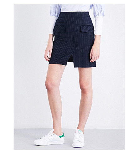 SJYP Pinstriped fitted high-rise denim skirt (Navy+0034