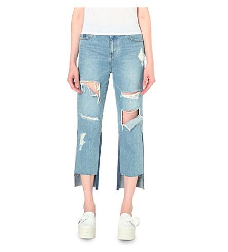 STEVE J & YONI P Distressed stepped-hem mid-rise jeans (Denim blue