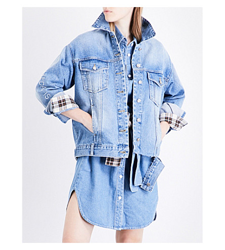 SJYP Embroidered-sleeve denim jacket (Denim+blue+0033