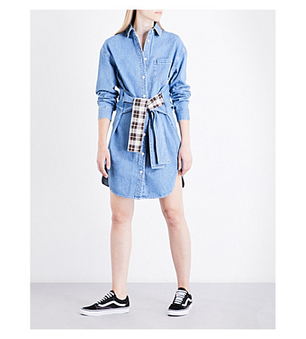 SJYP Tie-waist denim shirt dress (Light+blue+0030
