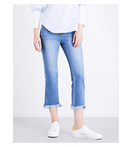 SJYP Frayed-hem straight high-rise jeans (Denim+blue+0033