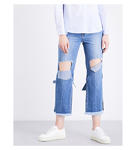 SJYP Strap-tied high-rise straight jeans (Denim+blue+0033