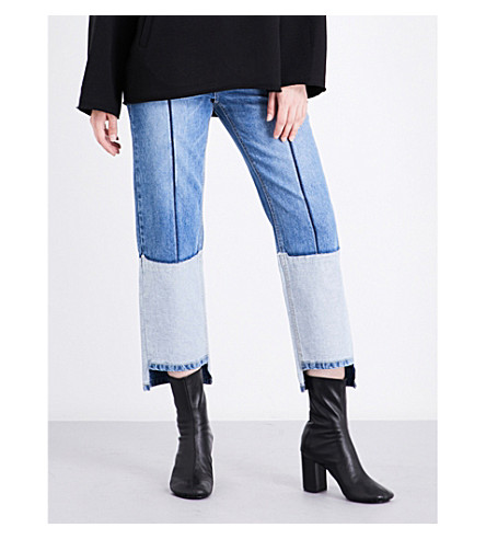 SJYP Stepped-hem straight high-rise jeans (Denim+blue+0033