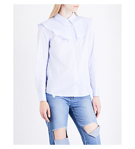 SJYP Tie-back cotton shirt (Light+blue+0030