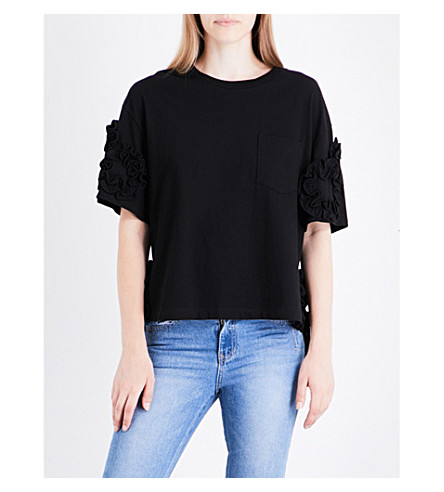 SJYP Frilled cotton top (Black+0090